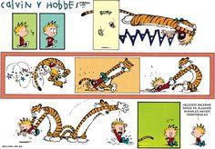 Calvin y Hobbes en español. Cuando Calvin no usa el subjentivo porque solemente hay in subjecto.