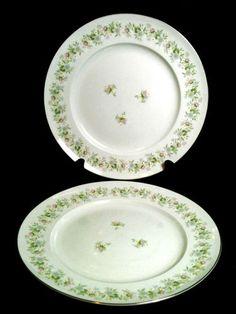 "Johann Haviland Forever Spring Floral Platinum Trim Dinner Plates 10 1/8"" Set 2"