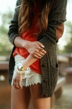 Lace Skirt + Oversized Cardi