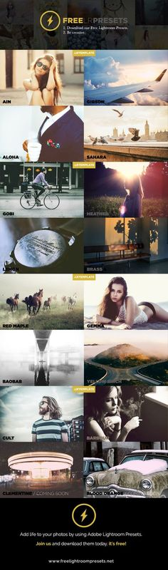 Free Lightroom Presets 1. Download our free Lightroom Presets 2. Be creative…