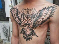 That owl!! Owl Tattoo Chest, Old School, Tatting, Ink, Owls, Tattoo Ideas, Deep, Tatoo, Ideas