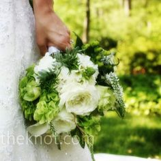 Gorgeous Green & White Bridal Bouquet Featuring: White Roses, White Callas, White Veronica, Star Of Bethlehem, White Freesia, Green Hypericum Berries, Green Bells Of Ireland & Greenery/Foliage