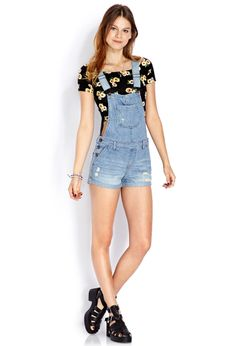 How to wear Overalls Glamsugar.com Denim Overall Shorts ...