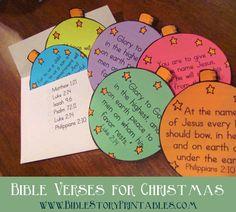 Christmas Bible Verse Ornaments & Envelope for scripture memorization in December! www.BibleStoryPrintables.com