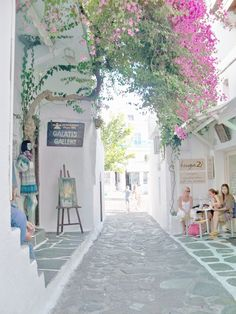 Dreaming of a Mediterranean breakfast on this quiet lane in Mykonos, Greece. Places Around The World, Travel Around The World, Around The Worlds, Cool Places To Visit, Places To Travel, Places To Go, Travel Destinations, Greece Vacation, Greece Travel