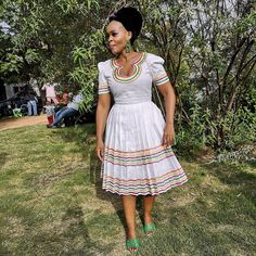 Pedi Traditional Attire, Sepedi Traditional Dresses, South African Traditional Dresses, African Lace Dresses, Latest African Fashion Dresses, African Print Fashion, Africa Fashion, Shweshwe Dresses, African Attire