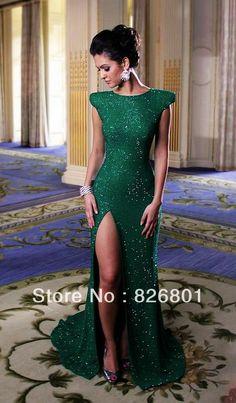 Modest Cap Sleeve Sexy Side Slit Emerald Green Sequined Mermaid Prom Dresses 2014 New Arrival Vestidos De Fiesta Evening Dress