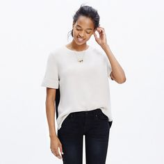 A simple cuffed design in a supersoft wool blend, this colorblock sweater is as easy to wear as a tee (but much more polished). <ul><li>True to size.</li><li>Wool/acrylic.</li><li>Dry clean.</li><li>Import.</li></ul>
