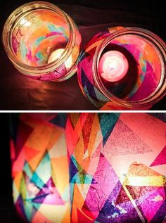 Making your own colorful garden DIY lanterns has never been easier: just use mason jars and candles, plus a special something for color. Baby Food Jar Crafts, Baby Food Jars, Mason Jar Crafts, Craft Projects, Crafts For Kids, Mason Jars, Mason Jar Candle Holders, Cool Diy, Garden Lanterns