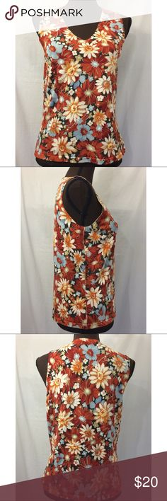 *Offer $13 Today* Women's Kate Hill Sleeveless Top Kate Hill top. Sleeveless. Embellishments. Floral print. V-neck. Armpit to armpit 17 inches. Length 22 1/2 inches. Kate Hill Tops