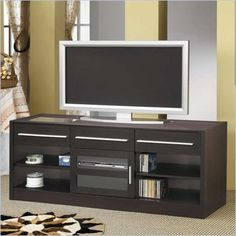 Coaster TV Stands Contemporary TV Console with CONNECT-IT Power Drawer - 700650 - Lowest price online on all Coaster TV Stands Contemporary TV Console with CONNECT-IT Power Drawer - 700650