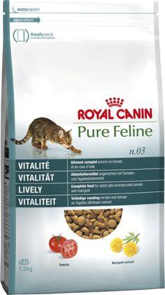 Royal canin pure feline vitalidad pienso para gatos. Pienso para gatos / Comida para gatos seca Royal Canin para gatos · pf n.03 vitality. Indicado para adultos menores de 7 años de todas las razas. Ingrediente principal: Ave. En Petclic ahorras mas de un 35% en todas tus compras de piensos y alimentación para gatos. Todas las garantías. Toda la seguridad que necesitas y mas de 5.000 productos de alimentación rebajados. www.petclic.es