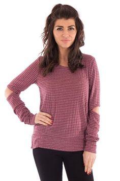 OPEN ELBOW STRIPE TOP #sweater #springfashion #cutout #fashiontrends #ss17