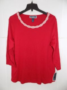 3af15f163a6 WTC7169 Karen Scott Women s Plus Red Cotton Braided-Trim Top NWT Size 0X   fashion