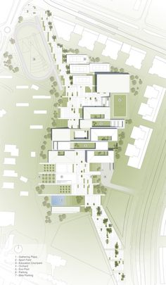 of 'Fields Of Knowledge' Sustainable Education Campus Second Prize Winning Proposal / ShaGa Studio + Auerbach-Halevy Architects/Ori Rittenberg(Rotem) - 1 Gradient color for landscape in a site plan:Gradient color for landscape in a site plan: Architecture Site Plan, Education Architecture, Landscape Architecture, Landscape Design, Architecture Diagrams, Architecture Portfolio, Sustainable Architecture, Architecture Colleges, Masterplan Architecture