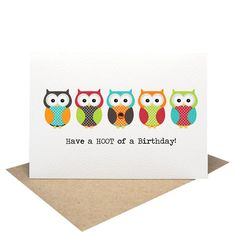 A stylish and fun handmade Birthday Female Card featuring 5 Bright Owls and the words Have a HOOT of a Birthday! A fun greeting card to give to your mums, daughters, aunties, friends etc. #owl #birthdaygirl