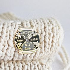 Sip Sip Knit Badge Pin accessory Gift Brooch Knitting Sewing Maker