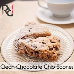 Erin's Clean Chocolate Chip Scones 1 ½ cups whole wheat flour 1 ½ tsp. baking powder ½ tsp. salt 2 TB unsalted butter, very cold and cubed ½ cup plain nonfat Greek yogurt 3 TB maple syrup 2 TB + 2 tsp. nonfat milk 1 tsp. vanilla extract 2 ½ TB miniature chocolate chips, divided  Find Instructions on http://www.realresults-inc.com