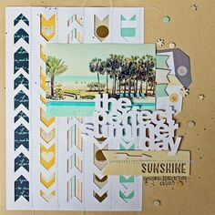 Love the negatives of the chevron arrows on this layout by Melissa Mann - The Perfect Summer Day
