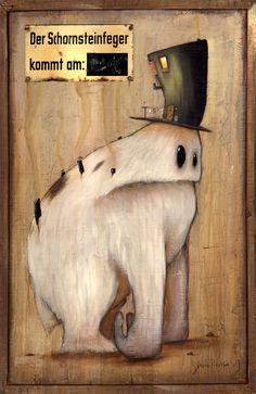 Artwork: Johan Potma, painting, acrylics, Illustration, monster, monsters, berlin, freaks, misfits, zozoville, the cheese mountain tragedy, www.johanpotma.com, character, character design (Cool Paintings Acrylics)