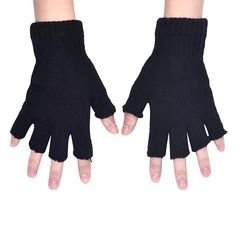 Men's Gloves Winter Keep Warm Point Finger Missing Finger Driving Type Knitting Gloves Exo Twice Got7 Black Pink Wanna One Seventeen Monsta X Non-Ironing