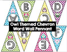"Owl Themed Chevron Word Wall Pennant ""Whooo"" wants to brighten up your class with these Owl Themed Chevron Letters? These letters are so cute and stylish with the cutest little owls. To add some more design hang a ribbon from the bottom of each letter and add your words. If you add a bow to the top of each one it adds a new look. Print, Laminate, and Cut! Follow me on TPT for more fun and exciting products and FREEBIES!"