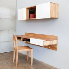 Sliding drawer and front covers. Fab.com | LAX Wall-mounted Desk