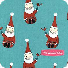 Santa Claus is Coming to Town   Dark Teal Happy Santa Yardage   Marisa and Creative Thursday for Andover
