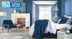 Interior design wall colors extraordinary best bedroom colors house interior design with walls interesting blue wall . Watery Paint Color, Blue Paint Colors, Bold Colors, Bright Blue Bedrooms, Blue Bedroom Walls, Next Bedroom, Gray Walls, Best Bedroom Colors, Bedroom Paint Colors