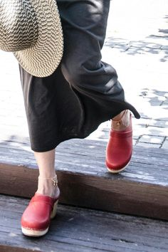 A genuine Swedish handmade orthopedic clog that is made in a small village for generations that pass the secrets of making clogs from one to another. The mat color is basic and beautiful and comes in red blue black and other colors. The heel height is 6 cm. These clogs are great to work with them walk with them and are great closet essential.   Red Heel Clog by Torpatoffein. Shoes - Pumps & Heels Israel