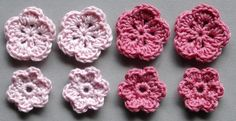 Häkelblumen, 2 Farben | Baumwolle, rosé, altrosa, 8 Stück