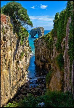 La Canalina, a small inlet in the Llanes coast, Asturias, Spain (by guillenperez) like travel# The Places Youll Go, Places To See, Wonderful Places, Beautiful Places, Magic Places, Asturias Spain, Spain And Portugal, Spain Travel, Beautiful Landscapes