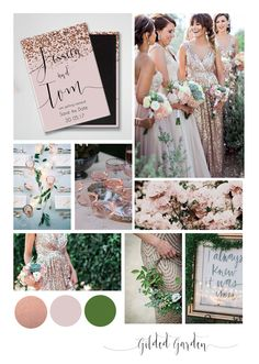 Gilded Garden wedding theme. Dusky pink and rose tones with sparkle embellishments.  Save the Date from Weddingraphics.  www.etsy.com/shop/weddingraphicsuk