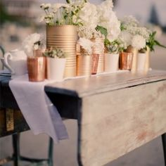 spray painted copper cans, cheap and easy