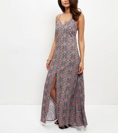 Orange Tile Print Split Front Slip Maxi Dress    New Look