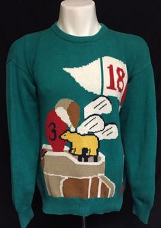 Jack Nicklaus Golden Bear Large Green Ugly Golf Sweater #GoldenBear Golden Bear, Golf Sweaters, Jack Nicklaus, Being Ugly, Christmas Sweaters, Green, Fashion, Moda, Fashion Styles