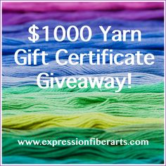 This month, we're giving away a $1000 gift card to our yarn shop. Hurray! http://blog.expressionfiberarts.com/2014/10/06/1000-yarn-gift-certificate-giveaway/