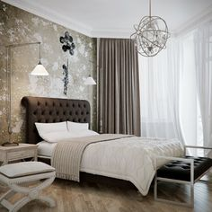 Stainless Steel Orbital Bedroom Chandelier, Upholstered Tufted Black Leather Headboard And Tufted Black Leather Bedroom Bench