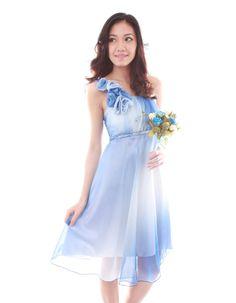 Bella Dress in Two-Toned Blue