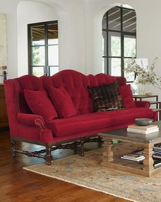 Smith Cranberry Tufted Sofa from Haute House at Horchow, where you'll find new lower shipping on hundreds of home furnishings and gifts. Home Living, My Living Room, Living Room Furniture, Home Furniture, Velvet Furniture, Furniture Layout, Handmade Furniture, Furniture Styles, Small Living