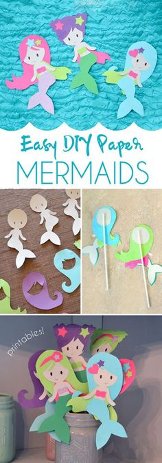 Easily make these colorful paper mermaid characters! Free printables!