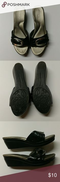Bandolino Slip On Wedges Size 7 Bandolino Silver Buckle Slip On Wedges  Gently Worn Bandolino Shoes Wedges