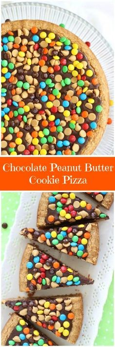 Ultra-thick peanut butter cookie pizza with chunky peanut butter, chocolate ganache, and M&Ms!