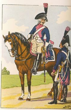 French; Line Cavalry 1st Regt, Trooper, Grande Tenue a Cheval & 2nd Regt, Trooper, Grande Tenue a Pied 1799-1801. Not sure why Bucqouy identifies these two troopers as belonging to 1st & 2nd Regts when shabraque shows a 19& 1st and 2nd's facings ere red not pink.