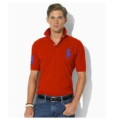 Ralph Lauren Blue Polo Logo Breathable Dark Red Short Sleeved http://www.ralph-laurenoutlet.com/