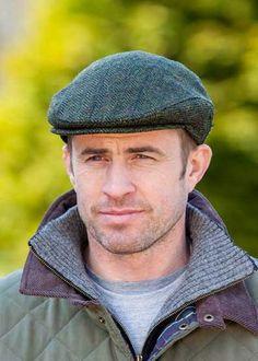 073a276dd91ea Irish Wool Mucros Weavers Trinity Cap Hat Moss Green Blue Line Aran 250