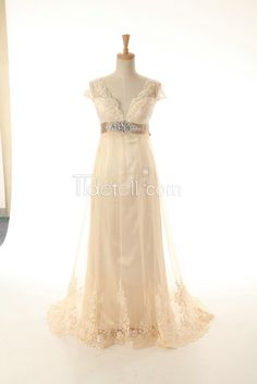 Tidetell.com New Exquisite A-line V-neck Long Tulle Lace Applique Empire Wedding Dresses