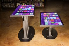 Touch tables tall and small. (Platform 46 multitouch tables from Ideum.)