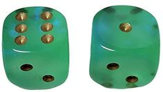 Custom & Unique {Large Size 20mm} 2 Ct Pack Set of 6 Sided [D6] Square Cube Shape See-Through Playing & Game Dice w/ Rounded Corner Edges w/ Royal Design Design [Light Emerald Green & Goldd]