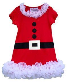Girls Christmas Mrs Claus Ruffle Dress